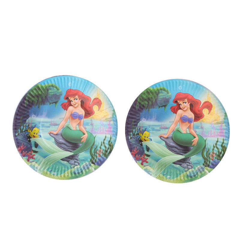 10pcs Mermaid Theme Cartoon Paper Plates 7inch Printing Round Plates Kids Favor Boys Birthday Party Supplies Disposable Plates