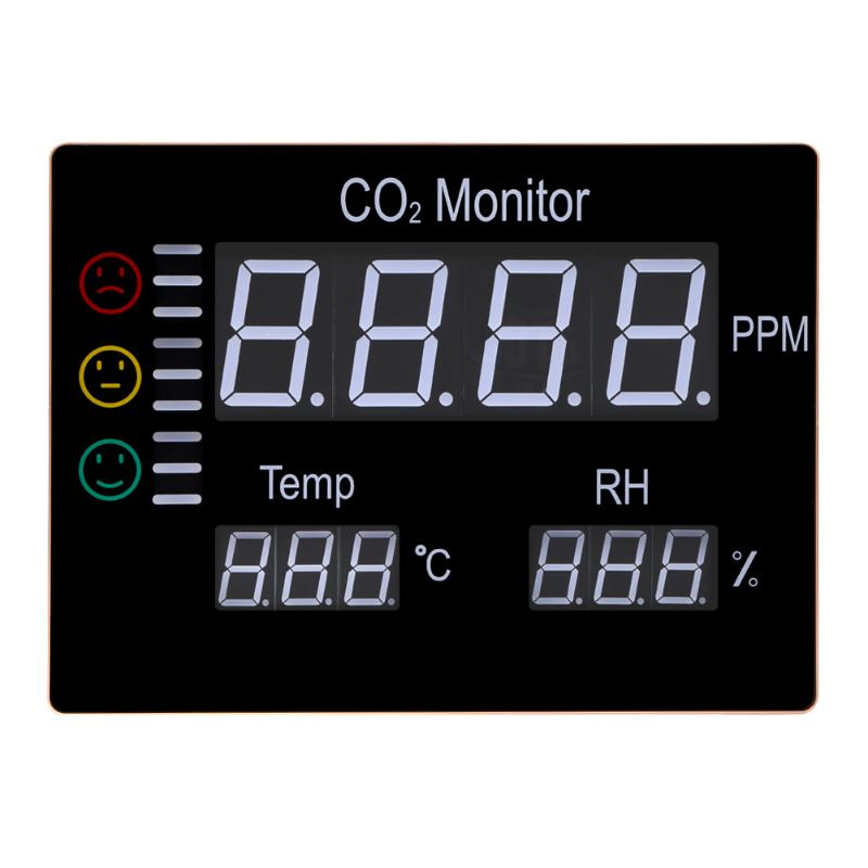 New LCD Digital Carbon Dioxide CO2 Monitor Wall Mount Air Temperature Meter RH 9999PPM Gas Analyzers Temperature Humidity Tester 3 in 1 indoor air quality monitor carbon dioxide co2 meter 9999ppm temperature humidity rh dp wbt digital iaq tester