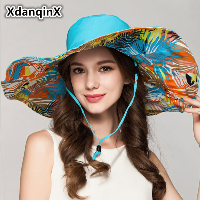 XdanqinX Foldable Women's Cap Summer Super Large Sun Hats For Women Waterproof UV Beach Hat Double-sided Wearable Visor Hat NEW image