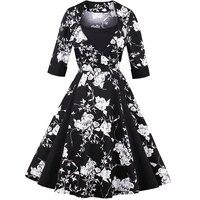 Automne nouveau antique 1950 S Hepburn vent pendule épissage robe robe 2017 femmes de mode élégant noir et blanc imprimer robe
