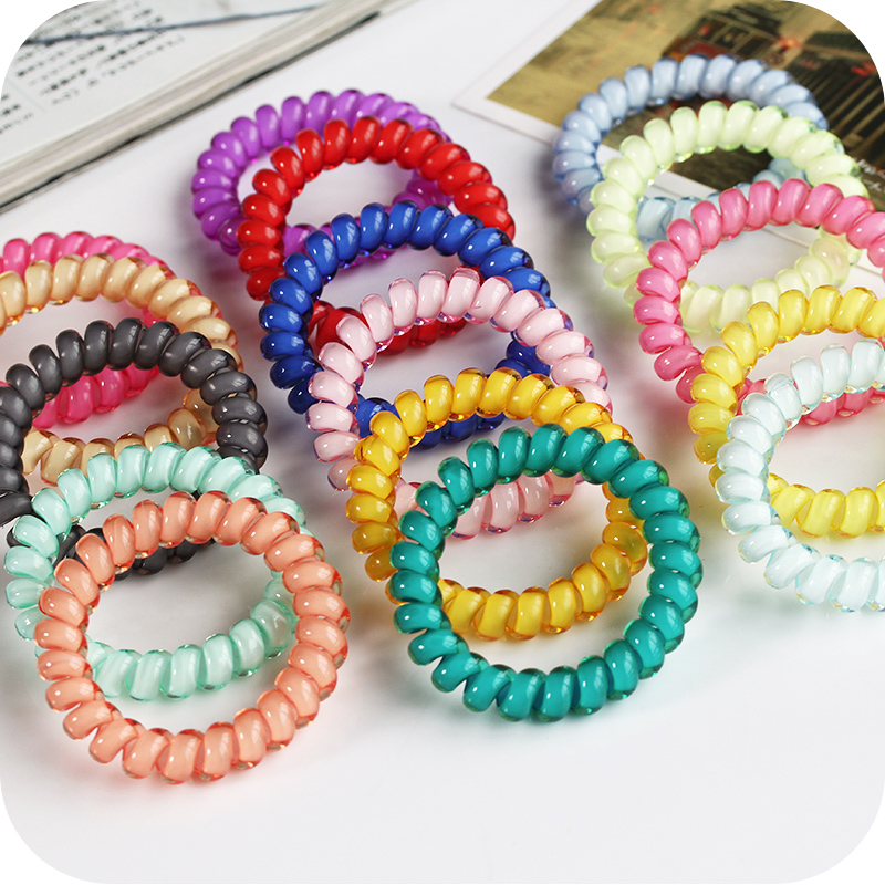 10Pcs/Lot Mixed Color Elastic Hair Band Spiral Shape Hair Accessory Telephone Wire Line Elastic Rubber Band Headdress For Women