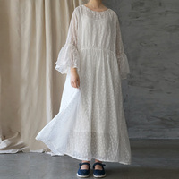 Women White Dress Jacquard High Quality Summer Flare Sleeve Chinese Style Robes O Neck Women Cloths Maxi Dress