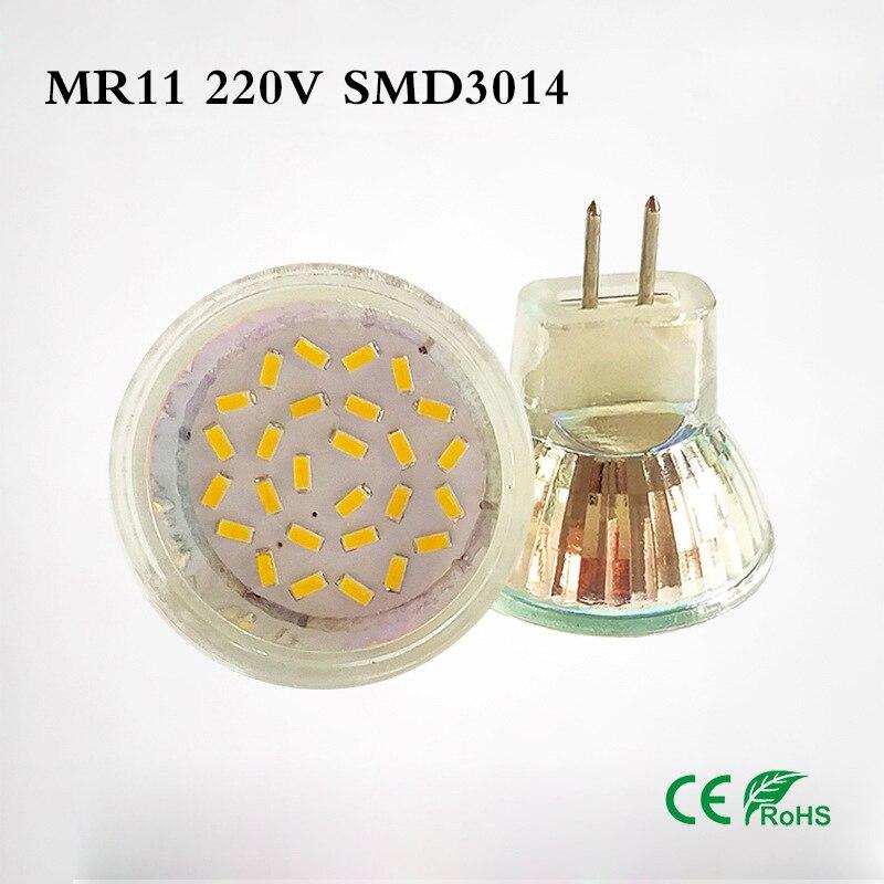 100 Uds vidrio 12V MR11 lámpara LED 3W 24LED 3528 SMD LED 220V mr11 bombilla LED 5W 27LEDS 3014 SMD cálido frío blanco Lampara
