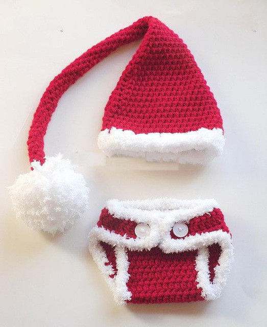 Gratis Verzending Haak Santa Hoed Luier Cover Set Baby Kerstman Set