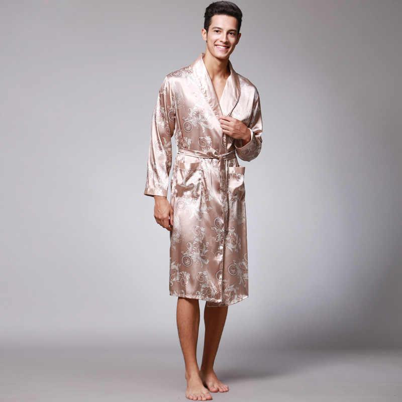 הגעה חדשה כחול כהה סיני גברים של פו משי חלוק חידוש קימונו יאקאטה שמלת קיץ הלבשת גודל M L XL XXL XXXL