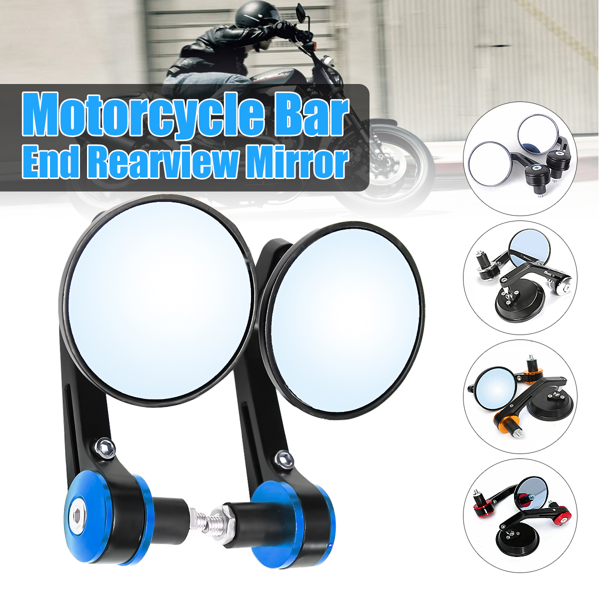 2pcs Universal 7/8 Round Bar End Rear Mirrors Moto Motorcycle Motorbike Scooters Rearview Mirror Side View Mirrors image