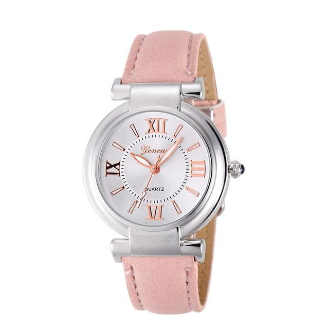 Women Quartz watches new fashion Girl Roman Numerals Leather Band Wrist Watch Br