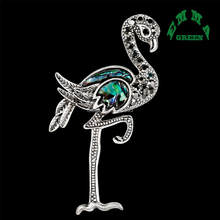 Azul Shell Broche de Lapela Pins Broches 2 pcs de Prata Antigo de Luxo para As Mulheres Exquisite Grande Broche de Presente Da Jóia Elegante Flamingo(China)