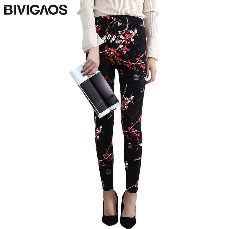 BIVIGAOS New Fashion Women Casual Cotton BRUSHED Black Milk Leggings Pants Female Elastic Plaid Graffiti Leggings Trousers Women