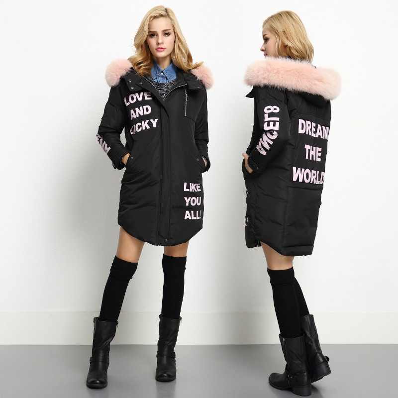 New Winter Jacket Women With Fur Hooded Thick Coat Female 2016 Warm Outwear Cotton Padded Letter