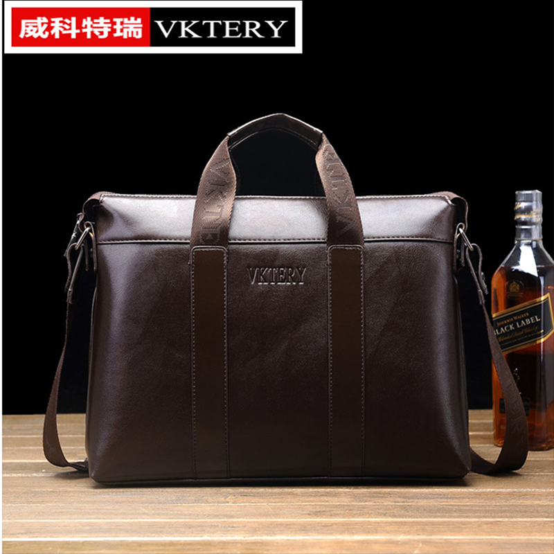 VKTERY Brand Luxury Men PU Leather Messenger Bag Mens Business Briefcase Fashion Shoulder Bag Crossbody Bag Horizontal 2016 New men pu leather messenger crossbody bag briefcase shoulder bag pure color simple business hand bag free shipping