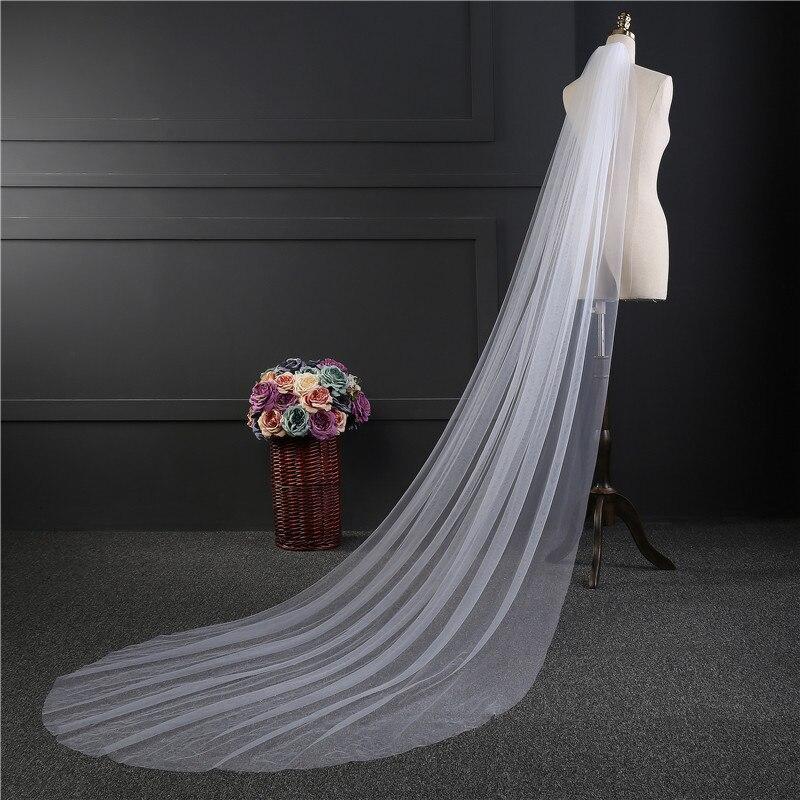 Nzuk barato fotos reais 3 m ou 2 m branco/marfim véu de casamento de uma camada longa cabeça véu de noiva véu acessórios de casamento venda quente
