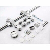 Free Shipping 6ft / 6.6ft Modern European Stainless Steel Glass Sliding Barn Door Hardware Track Kit