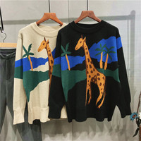 Autumn Casual Hit Color Sweater Women Long Sleeve Lovely Giraffe Stretchy O Neck Loose Pullover Feminino Warm Black Beige Jumper