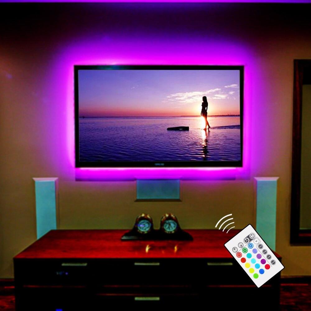 RGB LED Backlight TV USB Alimentado LEVOU Tira Luz 5050 Iluminação Home Theater TV para 32
