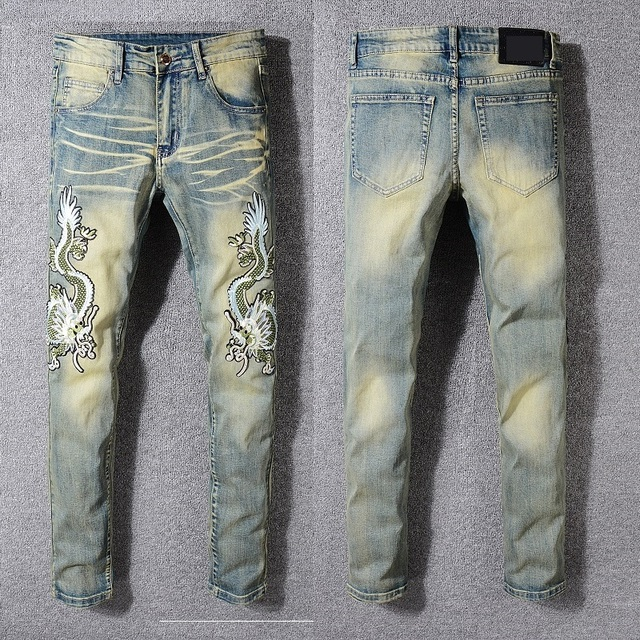 New Italy Style #3305# Men's Dragons Embroidered Pants Washed Blue Skinny Jeans Slim Trousers Size 29-40
