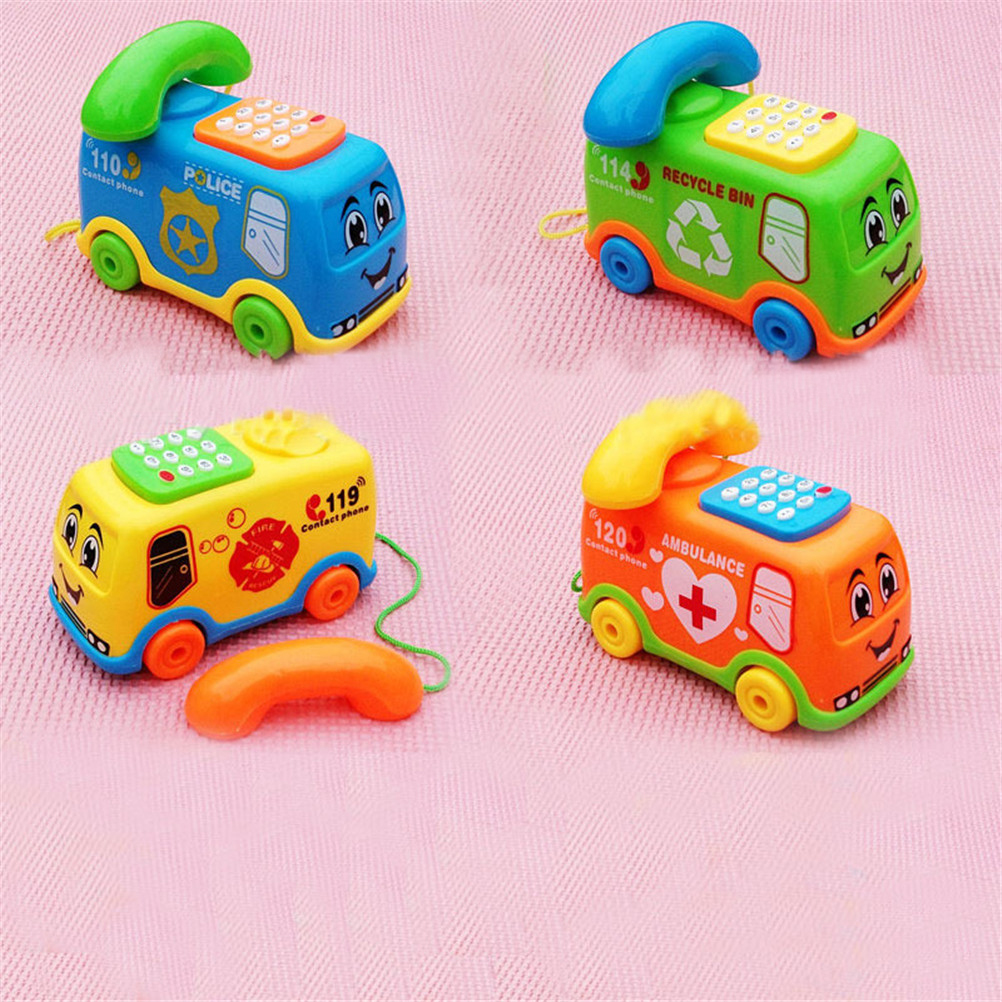 1pc Baby Toys Music Cartoon Bus Phone Educational Developmental Kids Toy Gift New High Quality