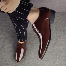 3de30128ea 2018 Recém masculina Qualidade do Couro de Patente Shoes Zapatos de hombre  Tamanho 38-47 Homem Vestido de Couro Preto Macio sapa.