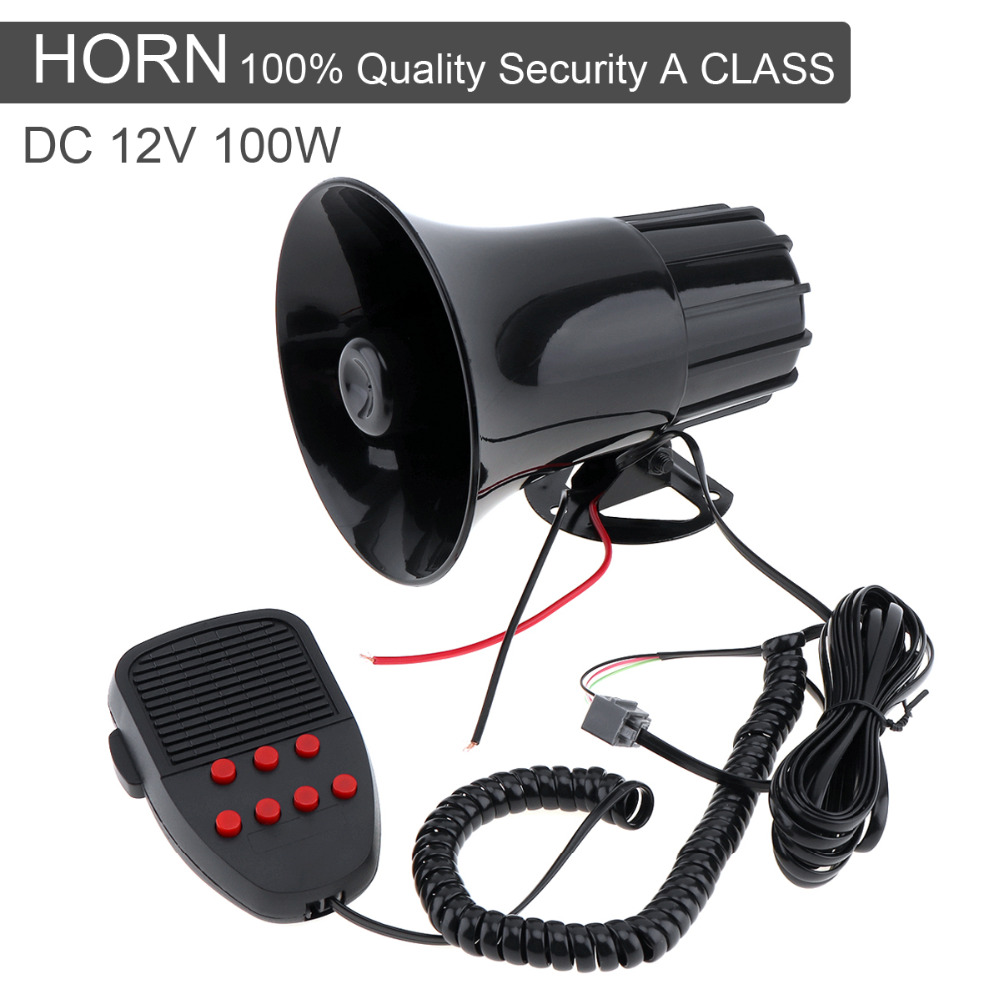 Motorcycle Car Alarm Siren 7 Tone Horn Sound 12V 100W Band High Power loudspeaker Alarm Talking Firemen Ambulance Truck Speakers