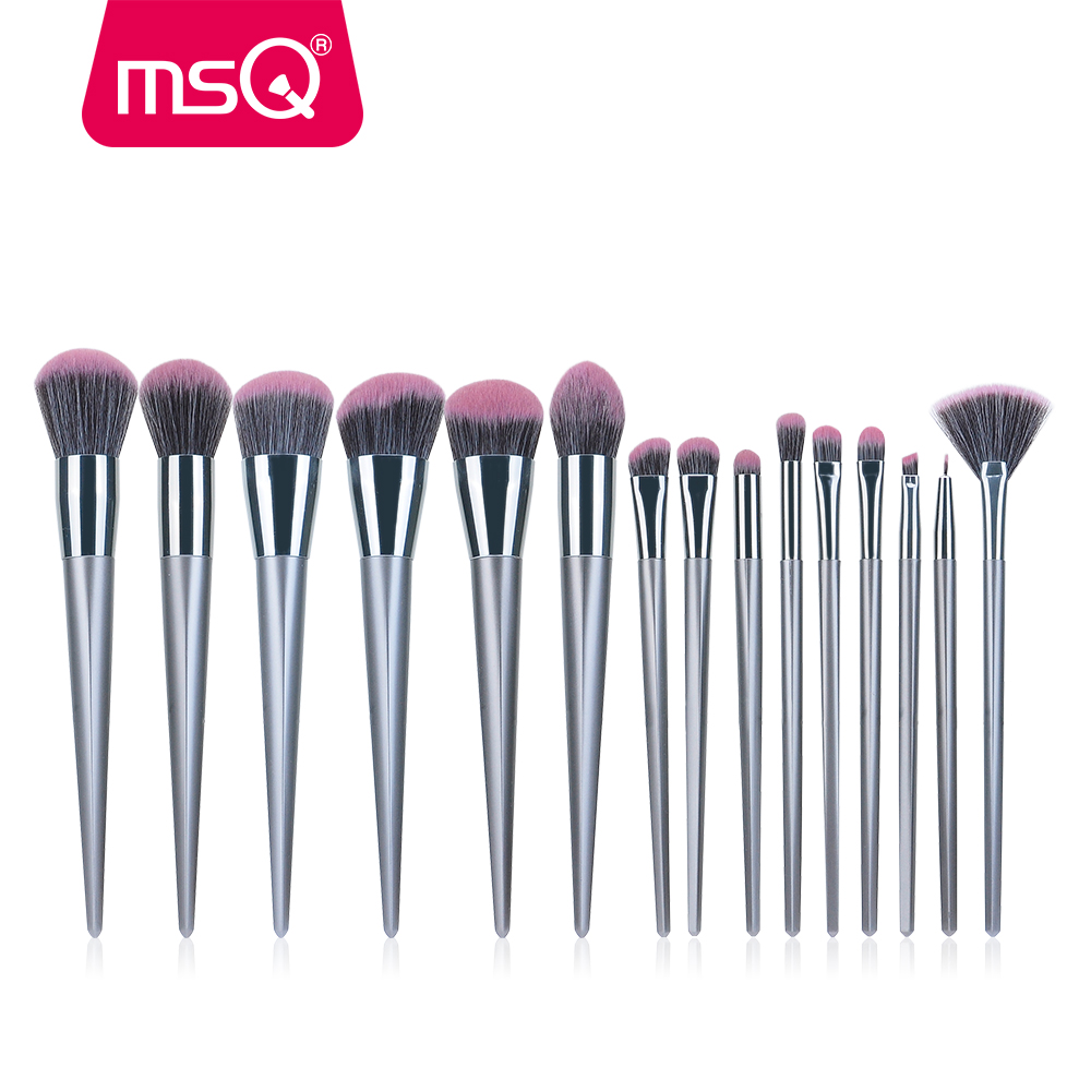 MSQ 15pcs Professional Makeup Brushes Set High Quality Natural-Synthetic Hair Foundation EyeLiner Blusher Make Up Brushes Kits msq professional 15pcs makeup brushes set soft synthetic hair natural wood handle with pu leather case for beauty fashion tool