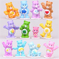 12PCS Set Rainbow Bear With Base PVC Figure Carebears Doll Toy Gift New
