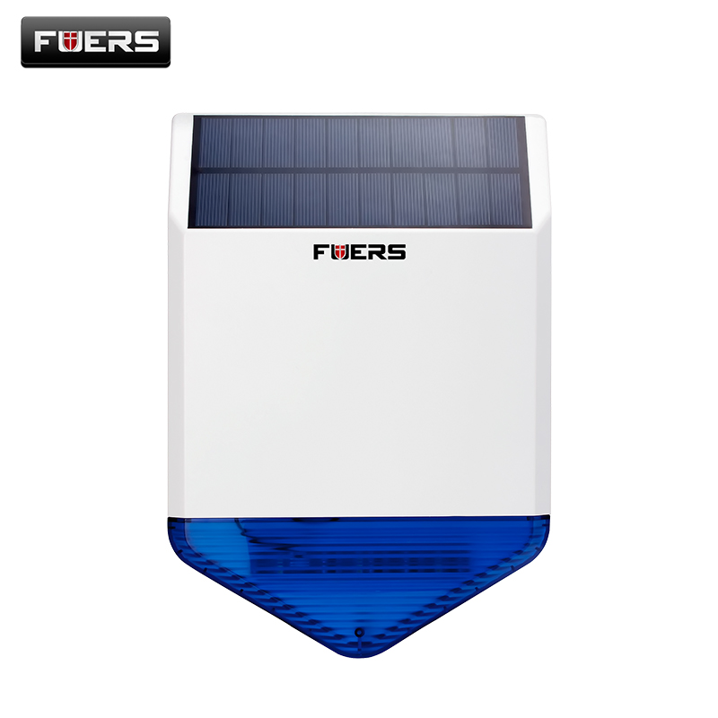 Fuers 433mhz Solar Wireless Outdoor Siren Burglar Magnetic Alarm Flash Sound Light Siren Energy Charge For Gsm Alarm System