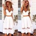 New Mulheres Sexy Beachwear Branco Top Colheita 2 Peça Vestido De Verão Vestido Bodycon Midi Vestido Longo Sexy Vestido de Alcinhas
