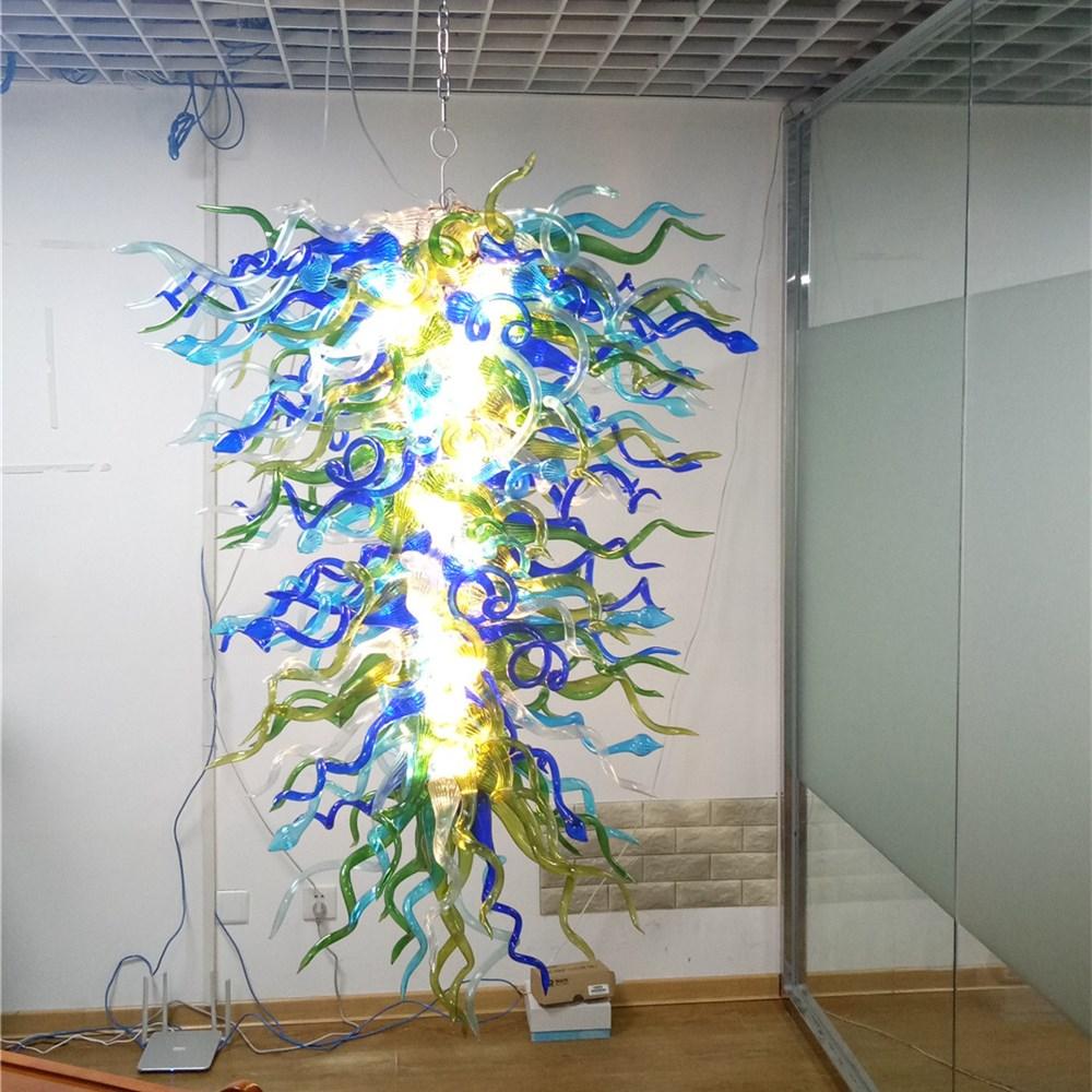 New Christmas Decor Fancy Blue Murano Glass Chandelier