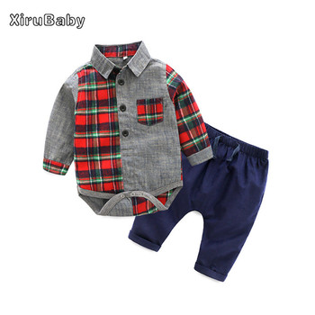 Xirubaby baby clothing sets newborn boys gentleman clothes long sleeve patchwork plaid rompers+pants 2pcs infant boy outfits