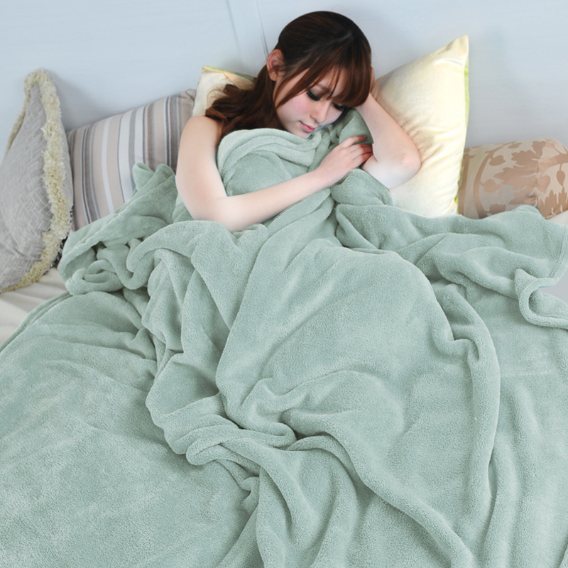 Soft Sofa/air/bedding Throw blanket Coral velvet Solid color Double faced fleece travel flannel blanket for 1.5/1.8/2.0m Bed
