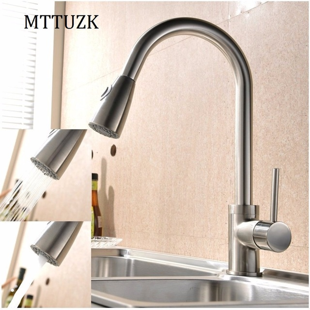 Mttuzk Pull Out Kitchen Faucet 360 Rotating Chrome Silver Black Brushed Swivel Sink