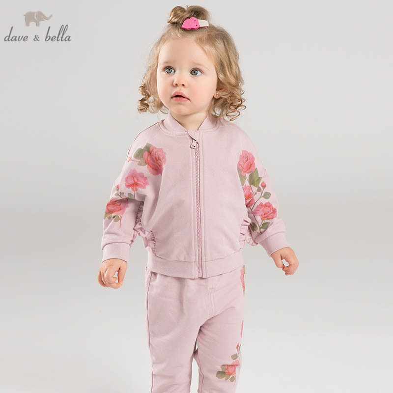 DB7125 dave bella spring infant baby girls fashion floral clothing sets children 2 pc toddler suit
