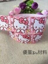 1 «25 мм новая распродажа 10 двор Холле kitty японский рисованный мультфильм печатных ребро ленты Diy аксессуары для волос материал