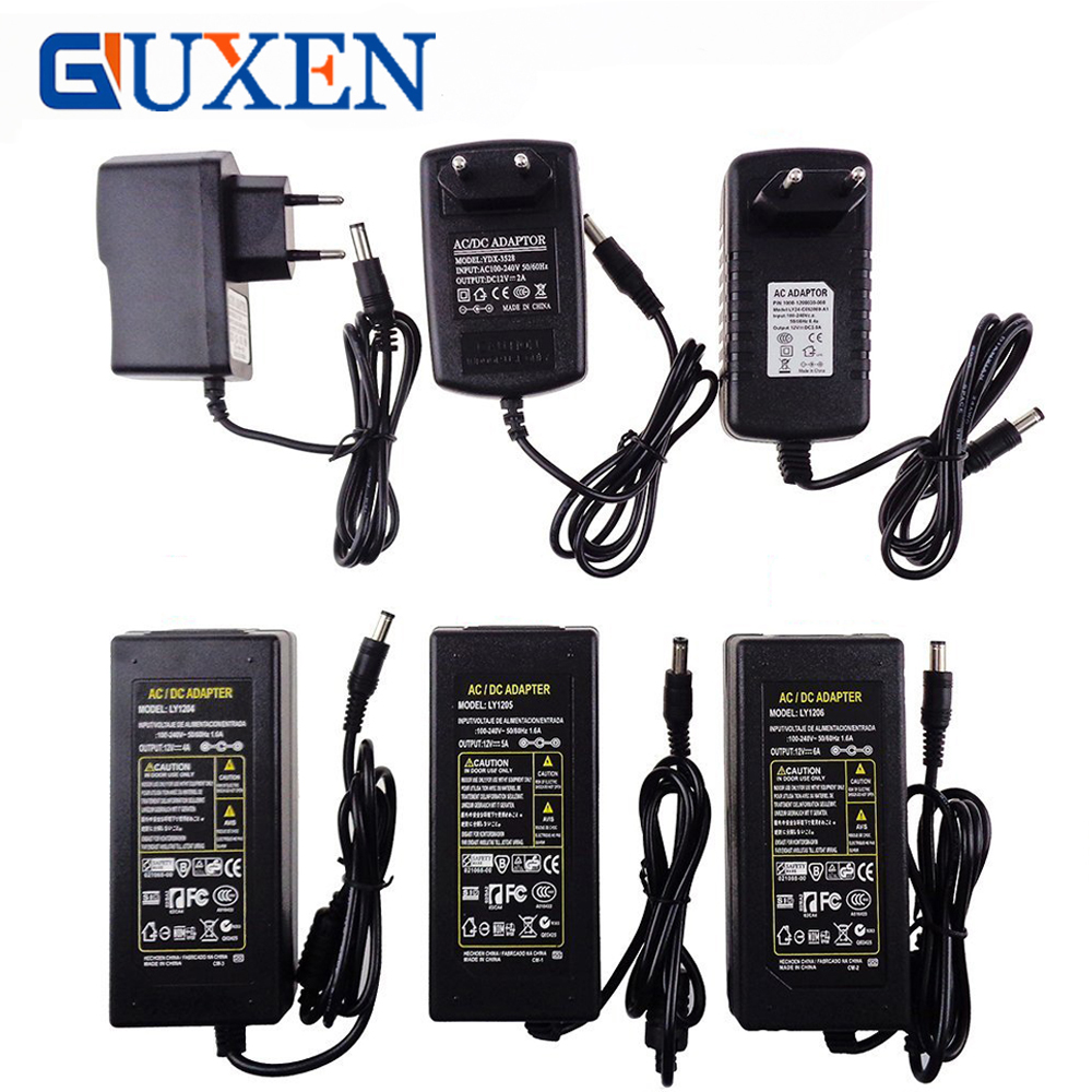 GUXEN 12V LED Strip Power Supply Adapter EU/US/UK/AU Plug For AC110-220V to DC12V 1A/2A/3A/5A/6A/8A/10A Transformer