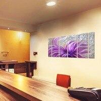ציור קיר מתכת אמנות פרח פריחה סגולה אלומיניום גדול פרחוני העכשווי דקור 3D וול אמנות מודרני יצירות אמנות