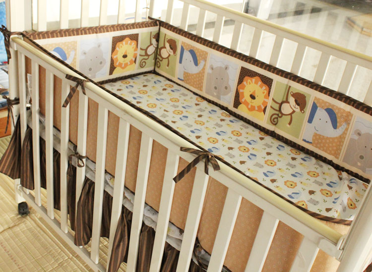 Promotion! 6PCS Girls Boys Baby Bedding Set Cot Sets Crib Sheet Set ,(4bumper+bed cover+bed skirt) promotion 6pcs baby bedding set cotton crib baby cot sets baby bed baby boys bedding include bumper sheet pillow cover