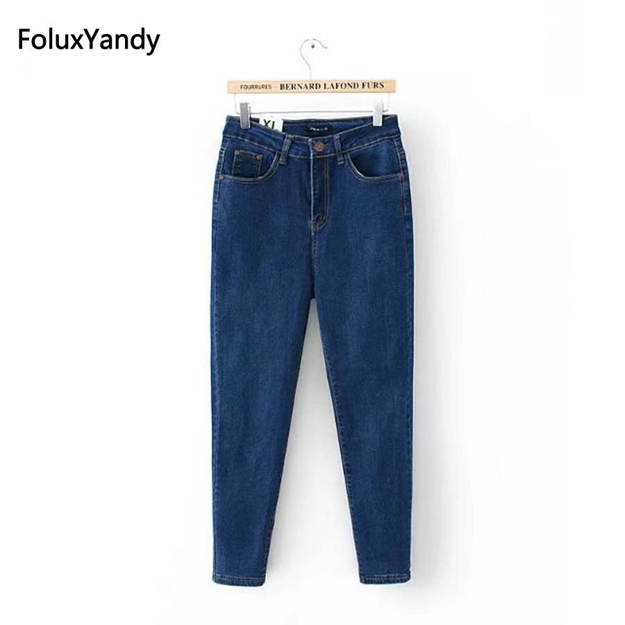 Elastic Denim Jeans Women Plus Size 3 4 5 XL Casual Female Slim Pencil Pants Blue Black Trousers KKFY111 elastic jeans women brand new plus size 3 4 5 6 xl casual slim skinny classic denim pencil pants trousers blue lej11