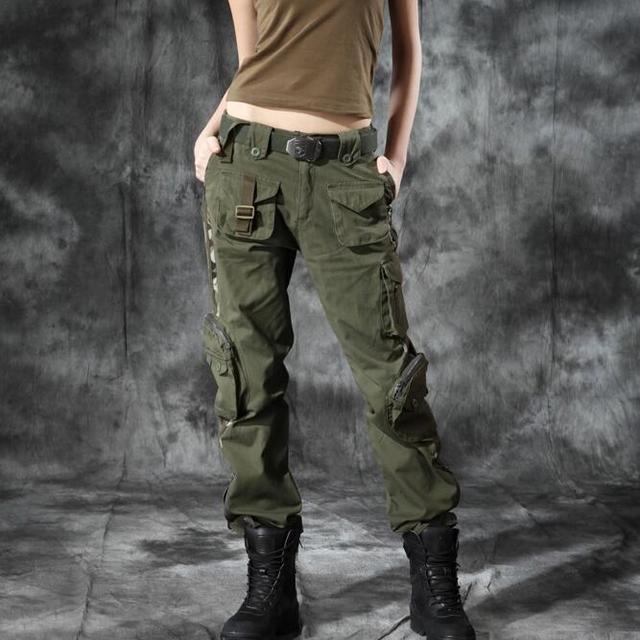 Mulheres Militares Calças Cargo Senhoras Calças Militar Do Exército Estilo 2017 Novo 100% Algodão Multi-Bolsos Das Calças Casuais Frete Grátis