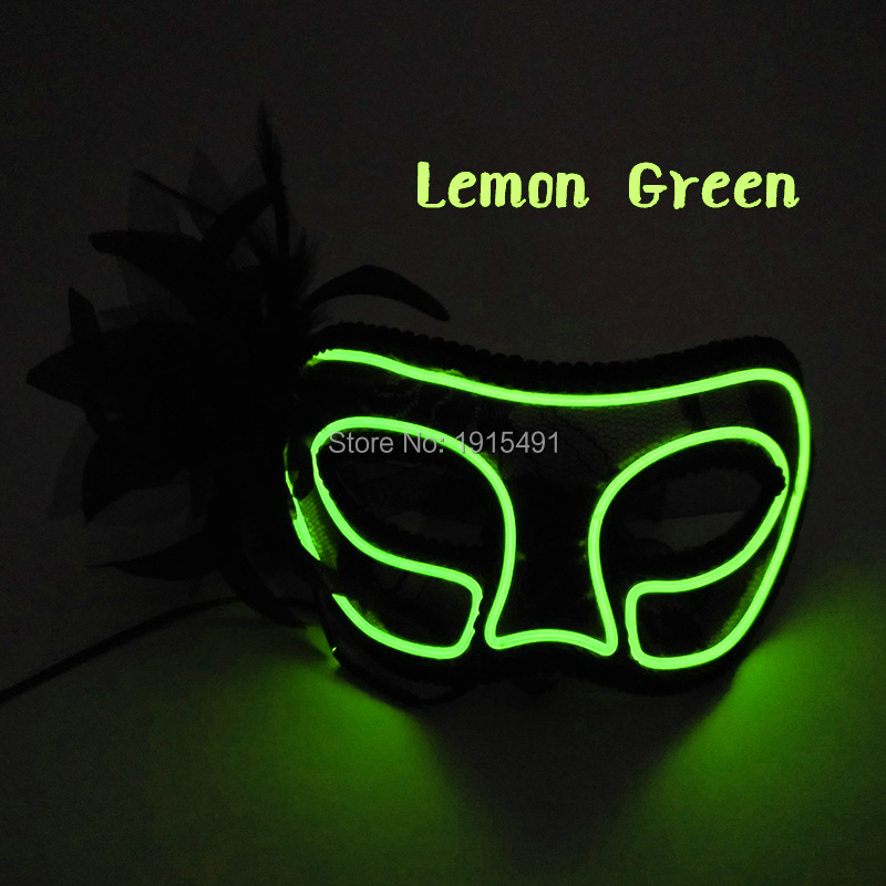 Nighttime Show Decor Cold Light Half Face Sexy Feather Realistic Mask Holiday Lights Neon Led Ball Princess Mask for Mardi Gras