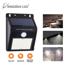 DINGDIAN LED Solar Power PIR Motion Sensor Wall Light Outdoor Waterproof Energy Saving 20 Road Yard Path Home Garden Lamp