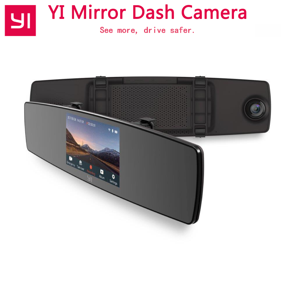 YI Mirror Dash Camera Dual Core Front Rear View Built-in ISP Car DVR Recorder Touch Screen HD G Sensor Night Vision Car Camera free shipping g sensor h 264 hdd 4ch 720p ahd car dvr video recorder metal rear side front view car camera system car monitor