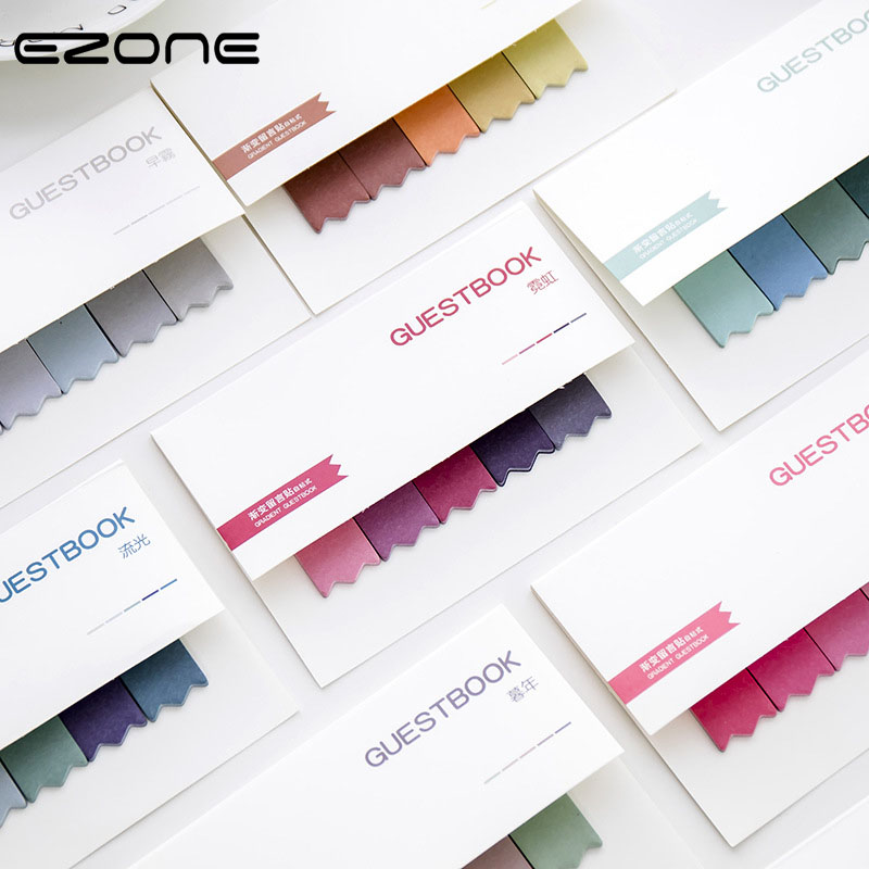 EZONE Long Strips Sticky Note Cute Colored Memo Pad Self-Adhesive Gradient Ramp Colorful Papers Bookmark School Office Supply