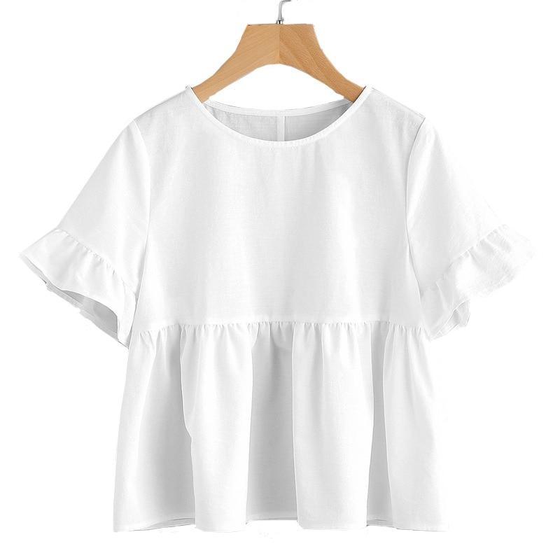 e2499406e0ff62 Dotfashion White Ruffle Sleeve Babydoll Blouse Solid Round Neck Short  Sleeve Top 2019 Summer Women Cute