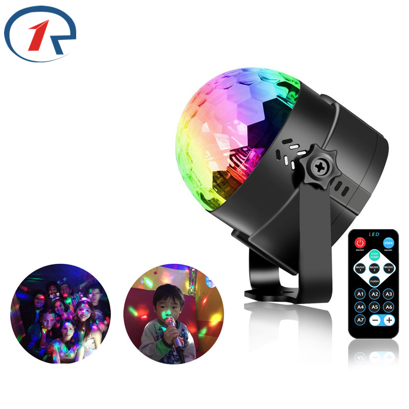 ZjRight Remote Crystal Rotat Ball LED Stage Light KTV bar dancing - Iluminación de vacaciones