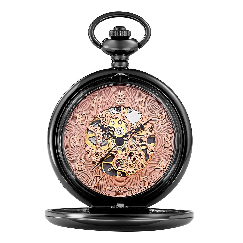 Карманные часы из нержавеющей стали черного и золотого цвета, оригинальный цвет, водонепроницаемые, светящиеся и полые, для мужчин, около 13,7