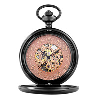 Stainless Steel Pocket Watch Black Gold Original Color Waterproof Luminated & Hollow For Man Approx 13.7 Inch