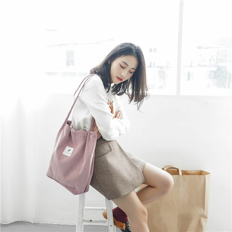 Mara's Dream High Capacity Women Corduroy Tote Ladies Casual Solid Color Shoulder Bag Foldable Reusable Women Shopping Beach Bag 24