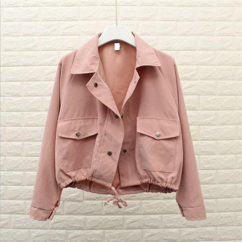 2017 Spring Autumn New Women Jacket Loose Pocket Casual Cropped Tops Solid Jacket Coat fashion Female Outerwear ladie HOT Y328  button