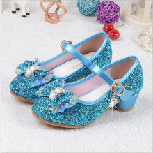 2017 Spring Kids Girls High Heels For Party Sequined Cloth Blue Pink Shoes Ankle Strap Snow Queen Children Girls Pumps Shoes