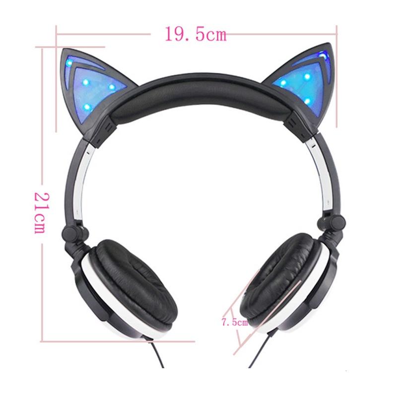 JINSERTA Cat Uši Slušalice s LED svjetiljkama za užaren nad ušima - Prijenosni audio i video - Foto 2